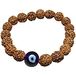 By Arihant Gems & Jewels 5 Mukhi Indonesia Rudraksha Bracelet With Evil's Eye 100% & Certified/ Five Faced Rudraksha Bracelet