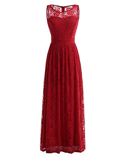 Wedtrend Frauen Lace lange Brautjungfer Kleid Party Kleid Cocktailkleid WTL10007 Dark Red XL