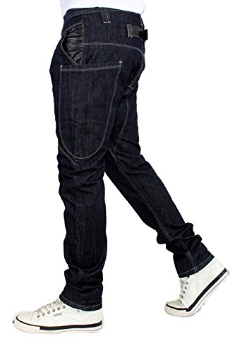 G-King Hammer Entrejambe Tombant Faux Cuir Boucle arrière Jeans Bleu - Indigo foncé