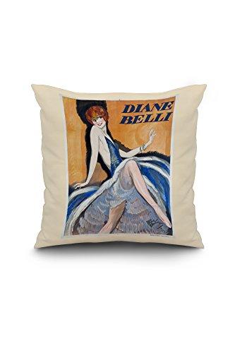 Diane Belli Vintage Poster (artist: Domergue) France c. 1934 (18x18 Spun Polyester Pillow Case, White Border)