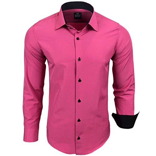 Rusty Neal Herren Kontrast Hemd Business Hochzeit Freizeit Slim Fit S bis 6XL Pink