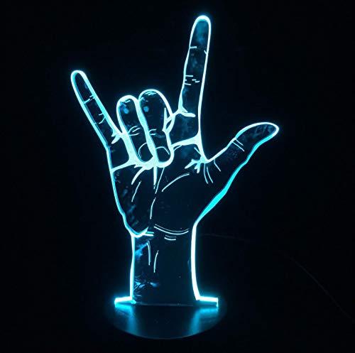 Gebärdensprache Ich Liebe Dich 3D Nachtlicht, 3D Illusion Lampe Büro Dekoration Atmosphäre 7 Farbwechsel Dekor Lampe Mit Wohnzimmer Bett Zimmer Bar Beste Geschenk Spielzeug