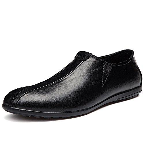 MOOKEY Herren Elegant Lederschuhe Halbschuhe Mokassins Bootsschuhe Schwarz Braun Unisex Casual Oxford Schwarz 37