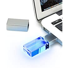 USB Memory Stick, Moreslan USB 2.0 64GB Waterproof USB Stick with Crystal Blue Light for Computers, Laptops and Notebooks