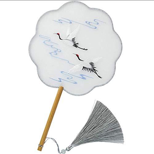 Lcxghs Folding Fans Handheld Fans Fan Runde Fan Fan Stickerei Kran Stickerei Hanfu Fan Seide Langen Griff Sommer Cool
