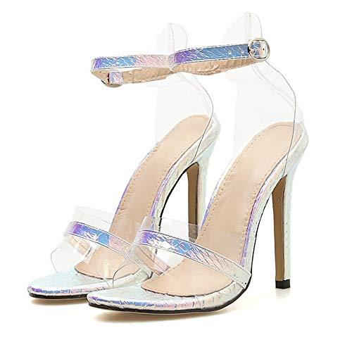XTQCBQL Women 11.5cm High Heels Sandals Female Strappy Glitter Shoes Lady Summer Pumps Heel Glitter Sandal