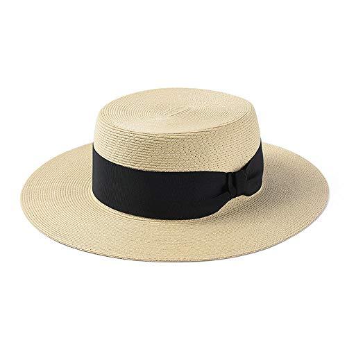 Panamahüte für Herren,Sonnenhüte für Damen,Sommer feines Papier Flache Kappe Strohhut Männer und Frauen Freizeit große Sonnenblende Sonnenblende @ Beige (Papier Strohhut Männer)