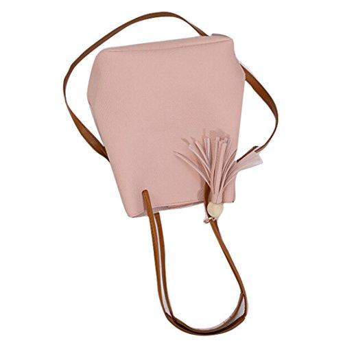 Transer Handbags & Single Shoulder Bags Ladies Artificial leather Handbag Girls Bucket Hand Bag, Borsa a spalla donna Pink 22cm(L)*26(H)*16cm(W) Pink