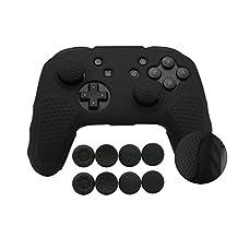 CHIN FAI voor Nintendo Switch Pro Controller case, antislip siliconen huid beschermhoes met 8 stks thumbsticks Grips (Zwart)
