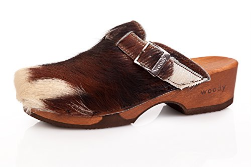Trachten Clogs - Manu Fell - Braun, Größe 37 (Leder-clogs Fell,)