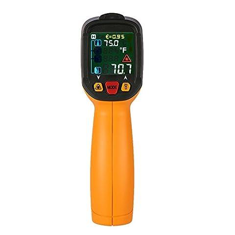 KKmoon -50 ~ 800 ° C 12: 1 IR LCD Thermomètre Infrarouge Numérique Portable, Testeur de Température Ambiante/Humidité/Point de Rosée, Type K Thermocouple avec Lumière UV, Emissivité Réglable-PM6530D