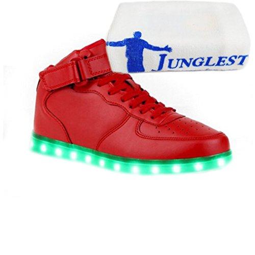 [Présents:petite serviette]JUNGLEST® - 7 Couleur Mode Unisexe Homme Femme Fille USB Charge LED Chaussures Lumière Lumineux Clignotants Chaussures de marche Haut-Dessus LED Ch c11