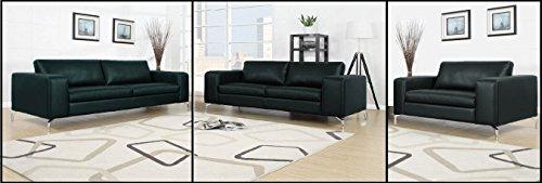 Madison Sofa Set 3er & 2er & 1er Wohnlandschaft Schwarz