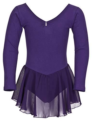 tanzmuster ® Ballettkleid Mädchen Langarm - Anna - aus weichem Baumwollstoff mit Glitzersteinen und Chiffon Röckchen fürs Kinder Ballett Ballettbodyin lila, Größe:92/98