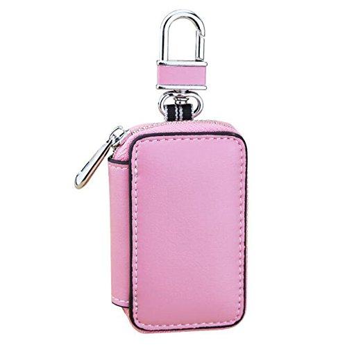 (ASKYUN Leder Autoschlüssel Tasche Reißverschluss Mode Geldbörse für Männer, Frauen - Rosa)