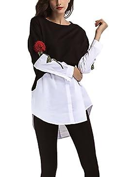 Mujer Camisas Manga Larga Elegantes Vintage Camisetas Tops Bordadas De Flores Cuello Redondo Asimetricas Patchwork...