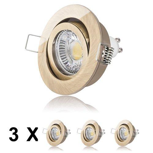 3er LED Einbaustrahler Set von LEDOX in Messing dimmbar & schwenkbar 230V 6W GU10 2700k I Einbaurahmen Deckeleuchte Einbaustrahler Markenstrahler Einbauleuchte Leuchte Lampe Downlight Altmessing
