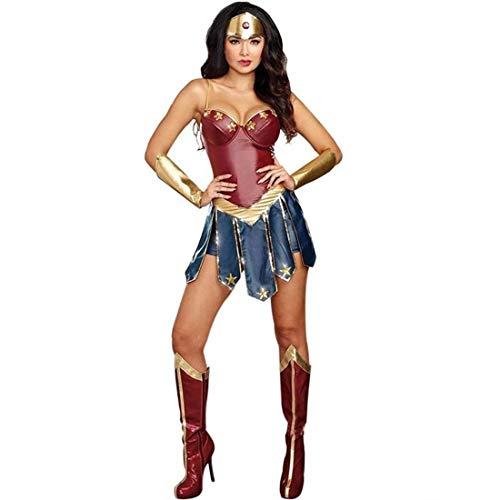 SPFAZJ Europäische und amerikanische Damen Halloween Wonder Woman Kostüm Cosplay Cosplay Held Liga Gladiator Uniform-S (Super Helden Kostüm Für Hunde)