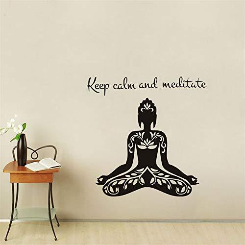 yiyiyaya Behalten Sie Ruhe und meditieren Sie Zitat Yoga Lotus Pose Wandaufkleber Vinyl Art Removable Home Decor für Wohnzimmer grau 62x59cm