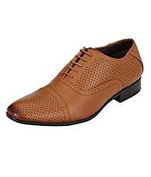 Real Blue Mens Tan Designer Faux Leather Lace-Up Formal Shoes Size:- 9
