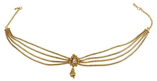MUCHMORE Bollywood Mode Gold Ton indischer Matha Patti Partywear Kopf Traditioneller Schmuck