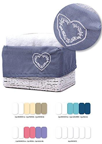 Lovely Home - Set spugna Lavette Silvy - 6 asciugamano viso cm 30x30 con cestino in legno Shabby Chic - idea regalo, AZZURRO