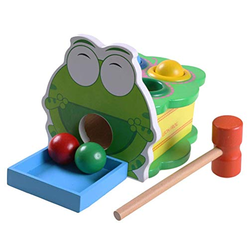 Wooden Hammer and Peg Toy Frog Pounding Bench Toy Educational Toy for Toddlers Kids