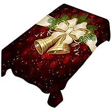 38b6079e81 Vi.yo Tovaglia Natale Rosso Scuro Tovaglia Rettangolare Tovaglia Campana  Fiocco di Neve Stampa Copritavola