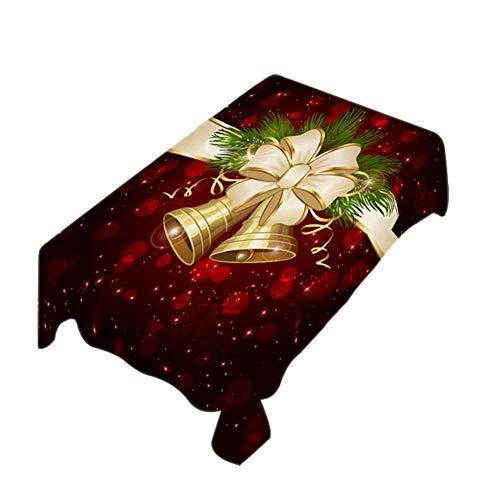 Chytaii Mantel Fiesta Pascua Tela Mantel de Mesa Antimanchas Rectángulo de Lino Estampado Decoracion para Uso en Interiores o Exteriores Diseño de Campana de Navidad Rojo