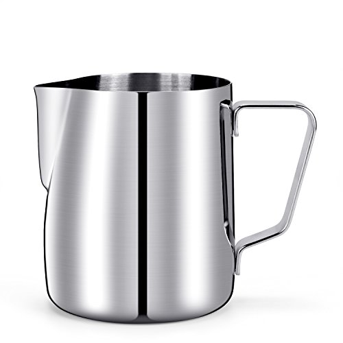 HULISEN Milchkännchen, Edelstahl Milk Pitcher 350ml / 12 fl.oz. Craft Kaffee Latte Milch Aufschäumen Krug