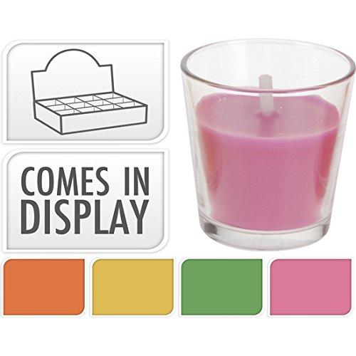 la Glas mit Kerze klein pink ()