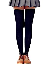 b7dfe7724 LSHARON Womens Over the Knee Thigh High Stockings Soft Knit Crochet Sock  Leggings