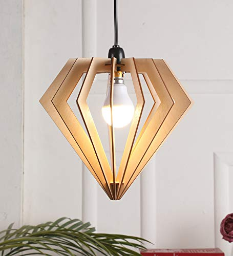 WoodLab Cosmo Diamond Shape Wooden Ceiling Hanging Pendant lamp