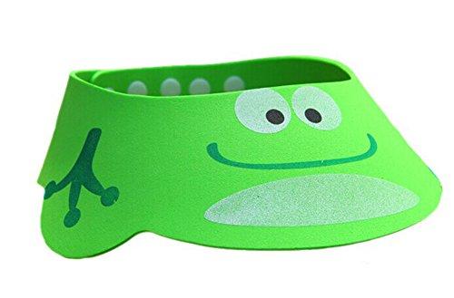 souriant Grenouille Vert EVA Bonnet de douche pour enfants, réglable, résistant à l'eau