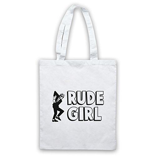 Rude Girl Jamaican Street Culture Slogan Umhangetaschen Weis
