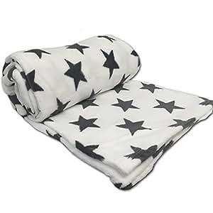 jemidi microfaser decke sterne 150cm x 200cm kuscheldecke weiss k che haushalt. Black Bedroom Furniture Sets. Home Design Ideas