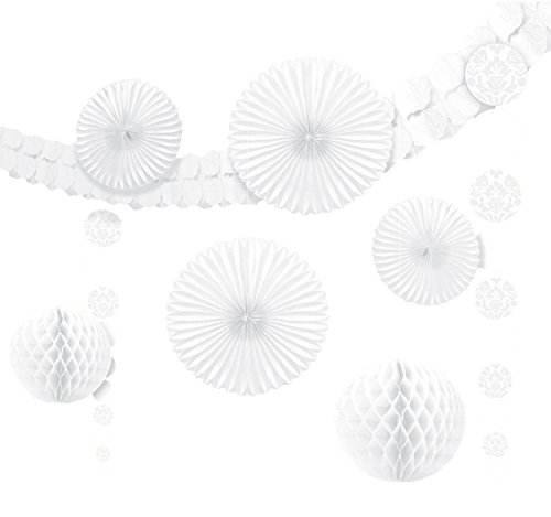 amscan Dekorationsset zum Aufhängen Weiß 9-teilig