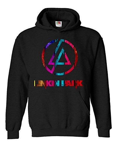 """Felpa Unisex """"Linkin Park"""" - Multicolor - Felpa con cappuccio rock band LaMAGLIERIA, XL, Nero"""