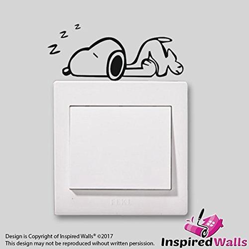 Cute Home Snoopy in a Nap Schön Muster Vinyl Dekor Schalter Aufkleber by Inspired Walls®