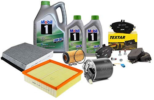 Kit Tagliando Filtri Mahle II, pastiglie freno anteriori 2486901 + olio motore Mobil ESP 5W-30 7 litri MB W176 W245 W242