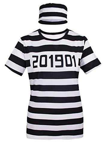Shirt Häftling Kostüm - Cosavorock Damen Sträfling Häftling Kostüm T-Shirts mit Hut (M, Striped)