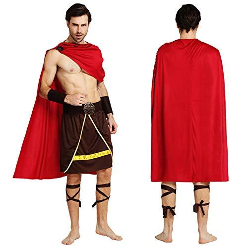 MCDREAM Helloween Griechisch Römischer Soldat Kostüm für Erwachsene Spartanischer Krieger Kostüm Herren Kostüm Partyzubehör
