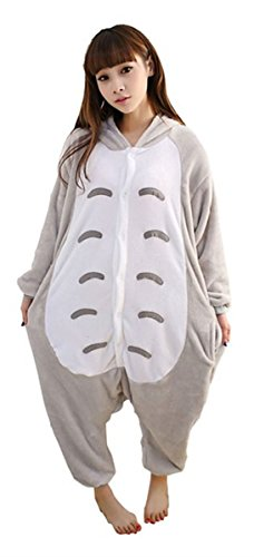 WOWcosplay Jumpsuit Tier Cartoon Fasching Halloween Kost¨¹m Sleepsuit Cosplay Fleece-Overall Pyjama Schlafanzug Erwachsene Unisex Kigurumi Tier ,Totoro L