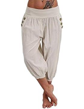 Mujer Pantalones Harem Verano Elegantes Moda Casual Cintura Alta Color Sólido Pantalon Pirata Mujer con Bolsillos...