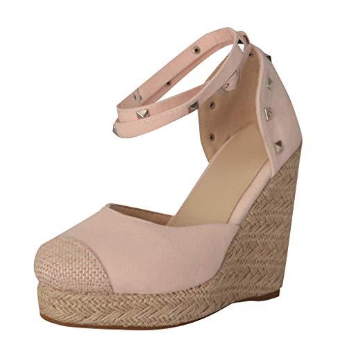 UOWEG Wedges Sandalen für Damen Retro Wedges Wohnungen Schuhe Plattform Thick Bottom Roman Sandalen Pink Patent Plattform