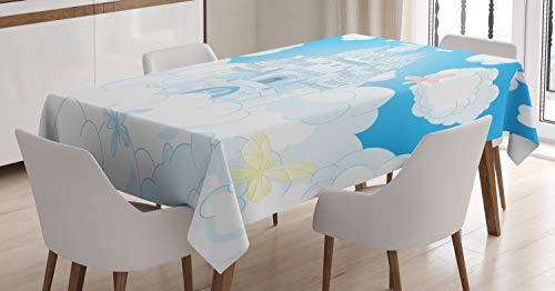 Abakuhaus fata tovaglia, magico castello farfalla, antimacchia stampata con la tecnologia all'avanguardia lavabile, 140 x 170 cm, bianca e blu cielo