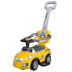 GHP Kids 3-in-1 55-Lbs Max Capacity Yellow Ride-On Push Car Stroller w Music Button
