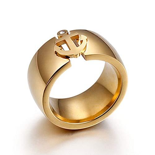 SSLL Ringe für Weiblicher Ankerring Goldring Aus Rostfreiem Stahl 12 Mm Großer Ring Mit Zirkonia-Ring, 9