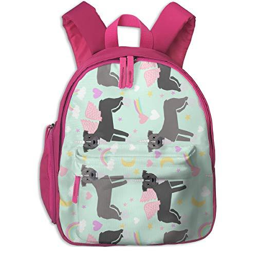 Kinderrucksack für Mädchen, Pitbull Unicorn Fabric - Pastell Rainbow Cute Pitbulls Pegasus - Light Mint (Eisenbahn) _4516 - petfriendly, Für Kinderschulen Oxford Cloth (pink) -