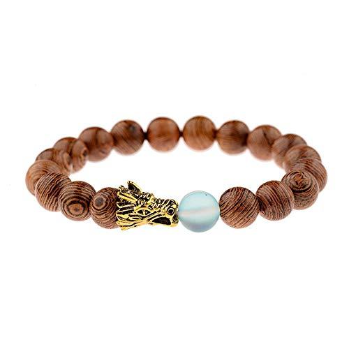 LINWEN Armband 10mm naturholz perlen Armband männer national Gold Drachen Stein Armband Damen gebet schmuck Yoga Armband - Holz Geschnitzt Shell